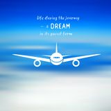 Airplane on a blue sky background. Vector illustration about travelling Royalty Free Stock Photos