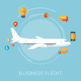 Airplane in the blue sky. Business flight Royalty Free Stock Image
