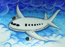 Airplane in blue sky painting Royalty Free Stock Photo