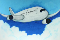 Airplane in blue sky painting Stock Photos