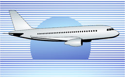 Airplane and blue stripe Stock Image