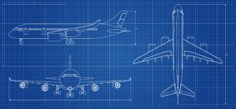 Airplane blueprint. Outline aircraft on blue background. Vector illustration. Aviation drawing blueprint, plane sketch graphic vector illustration