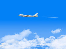Airplane in bluesky background. Royalty Free Stock Photos