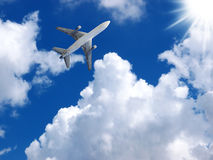 Airplane in bluesky background. Stock Images