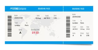 Airplane boarding pass design. Plane travel ticket illustration. Air admission template. Airplane boarding pass design. Plane travel ticket illustration. Air stock illustration