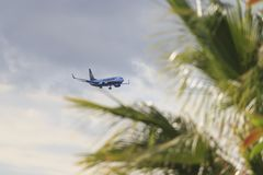 Airplane Boeing 737-8AS Ryanair landing in Tenerife aiport royalty free stock photography