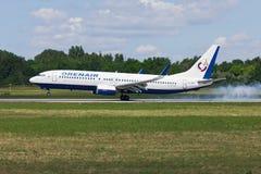 Airplane Boeing-737 landing. Airplane Boeing-737 of Oren Air aircraft landing, Rostov-on-Don, Russia, June 22, 2011 Royalty Free Stock Photo