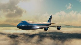 Airplane Boing Air Force One in fly