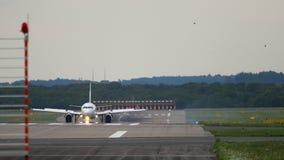 Airplane braking after landing. Dusseldorf Airport, Germany stock video