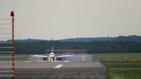 Airplane braking after landing. Dusseldorf Airport, Germany stock video footage