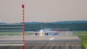 Airplane braking after landing. Dusseldorf Airport, Germany stock footage
