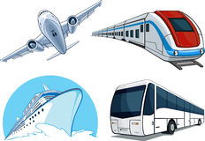Airplane, Bus, Cruise Ship, And Train Royalty Free Stock Photography