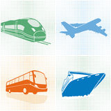 Airplane, bus, train, ship Stock Images