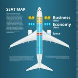 Airplane Business Or Economy Class Seat Map Template. EPS10 Vector royalty free illustration