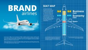 Airplane Business Or Economy Class Seat Map White Contour Template Royalty Free Stock Photos