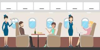 Airplane business interior. Stock Photo