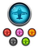 Airplane button icon. Glossy airplane button icon set in 6 colors Royalty Free Stock Image