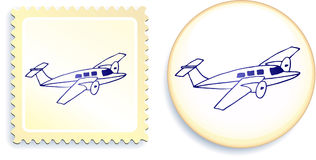 Airplane on Button and Stamp Set Royalty Free Stock Photo