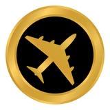 Airplane button on white. Royalty Free Stock Image