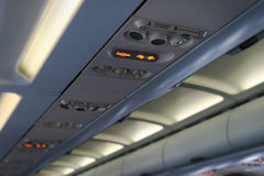 Airplane cabin ceiling Royalty Free Stock Photo