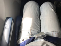 Airplane cabin has seat belt for each seat. royalty free stock images