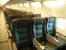 Airplane cabin jet interior Royalty Free Stock Image