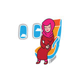 Airplane cabin passenger Muslim girl Stock Photo
