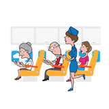 Airplane cabin passengers and air hostess Royalty Free Stock Images