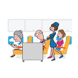 Airplane cabin passengers and air hostess and cart Stock Photo