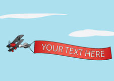 Airplane carrying advertisement banner royalty free illustration