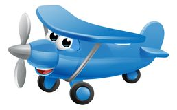 Airplane Cartoon Character. Mascot. An illustration of a cute blue small or toy aeroplane royalty free illustration