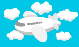 Airplane cartoon, Travel, Clouds. Illustration of funny cartoon Airplane. Best for Travel, Transportation, Aerospace concept Royalty Free Illustration