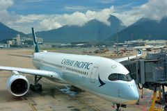 Airplane of Cathay pacific company is locating in Hongkong Airport Stock Photography
