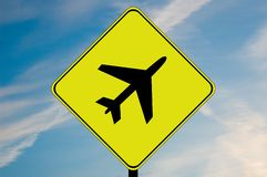 Airplane caution sign Royalty Free Stock Photography