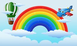 Airplane character and a boys riding a hot air balloon over the rainbow Stock Images