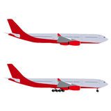 Airplane with chassis and airliner without chassis Royalty Free Stock Image