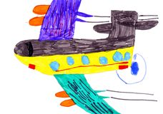 Airplane. child's drawing on paper Royalty Free Stock Image