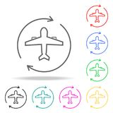 Airplane circle arrow colored icons. Element of sewing multi colored icon for mobile concept and web apps. Thin line icon for webs. Ite design and development Royalty Free Stock Photos