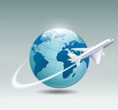 Airplane circling the globe Stock Image