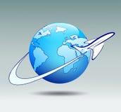 Airplane circling the globe Stock Photos