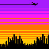 Airplane city Stock Photography