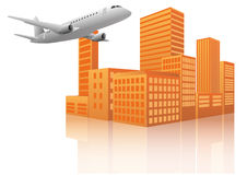 Airplane city Royalty Free Stock Photography