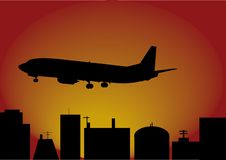 Airplane and city Royalty Free Stock Photo