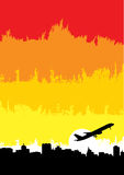 Airplane on the city royalty free illustration