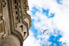 Airplane in the city Stock Image