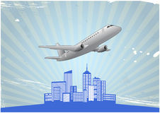 Airplane city Royalty Free Stock Photo