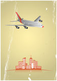 Airplane city Royalty Free Stock Images