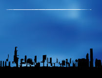 Airplane city skyline Royalty Free Stock Photo