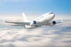 Airplane climb gains altitude at speed in motion blur above sky clouds flight journey height. Airplane climb gains altitude at speed in motion blur above sky Royalty Free Stock Photos