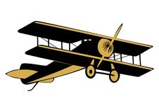 Airplane. Clip art of aircraft from the First World War on a white background. Two colors. Vector Royalty Free Stock Photos